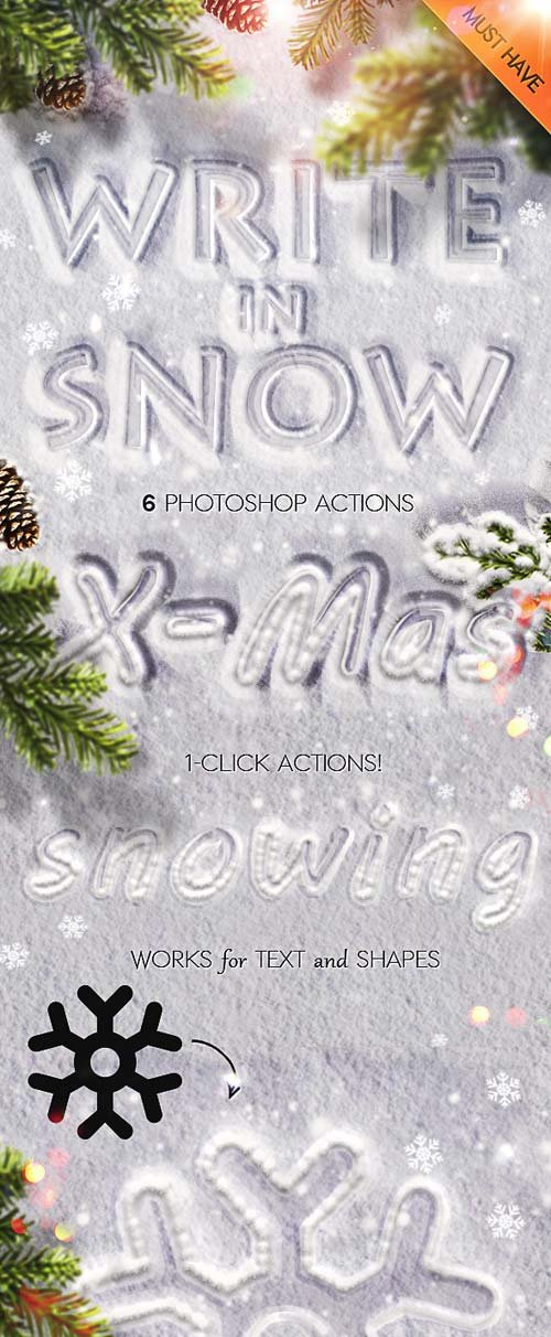 GraphicRiver Snow Writing Photoshop Actions for Winter Time