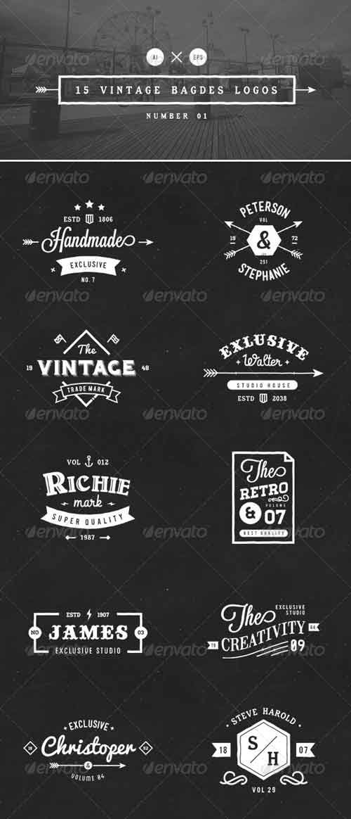 GraphicRiver 15 Vintage Badges Logos Number 01