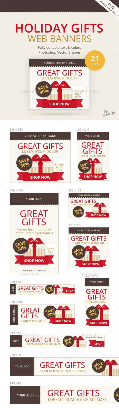 GraphicRiver Holiday Gifts Web Banners