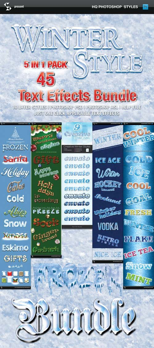 GraphicRiver Winter Style Text Effects - Bundle