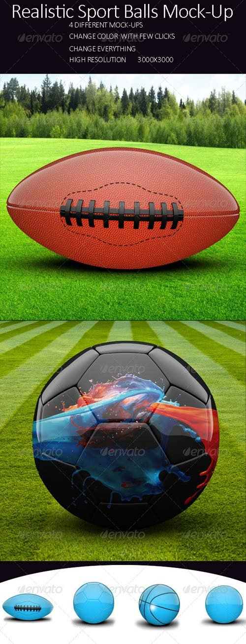 GraphicRiver Realistic Sport Balls Mock Up