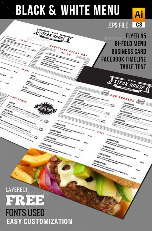 GraphicRiver Black & White Food Menu Package