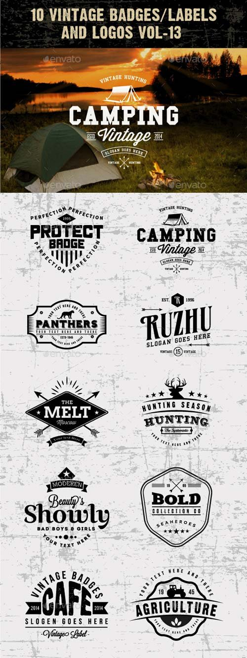 GraphicRiver 10 Vintage Badges/labels and Logos Vol-13