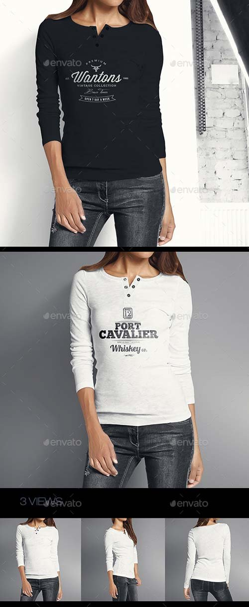 GraphicRiver Woman Longsleeve Shirt Mock-up
