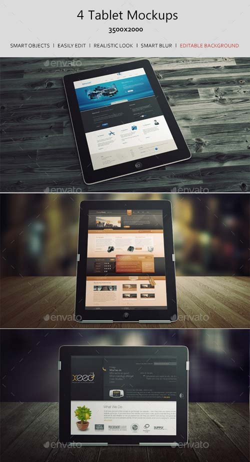 GraphicRiver 4 Tablet Mockups