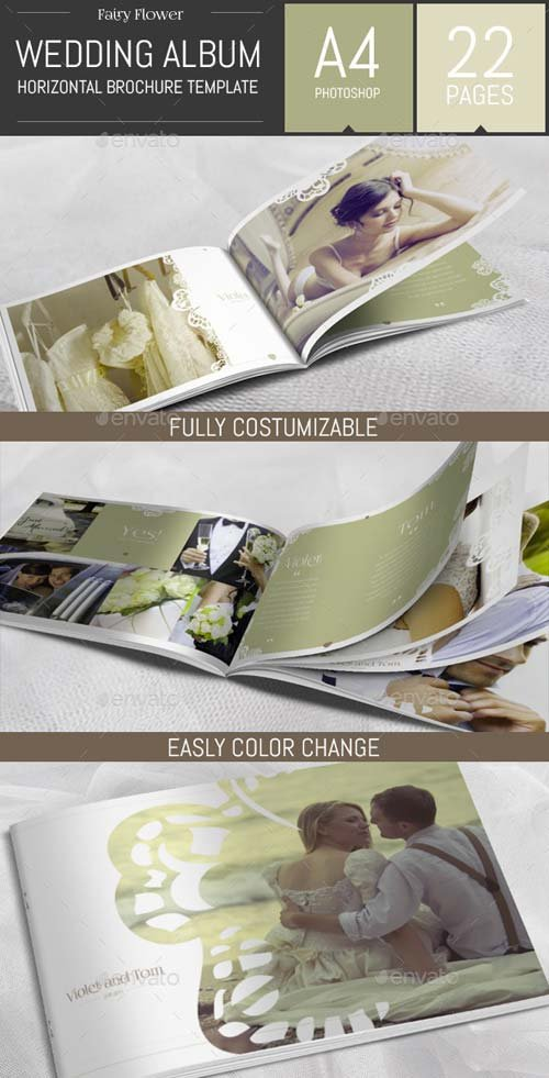GraphicRiver Wedding Photo Album Horizontal Brochure Template