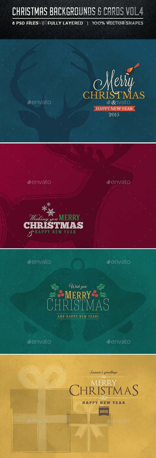 GraphicRiver Christmas Backgrounds and Cards Vol.4