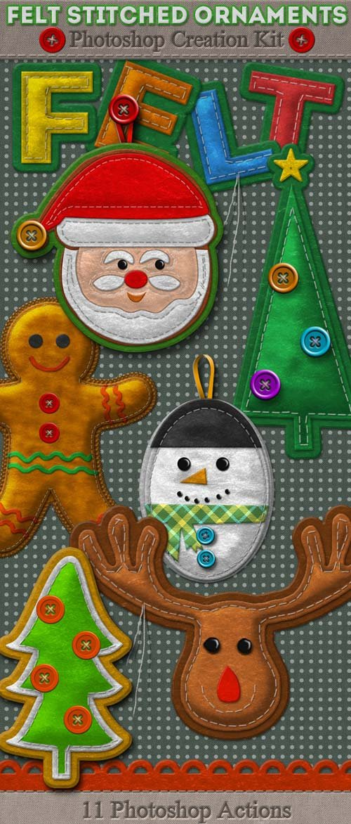 GraphicRiver Felt Stitched Ornaments Photoshop Creation Kit