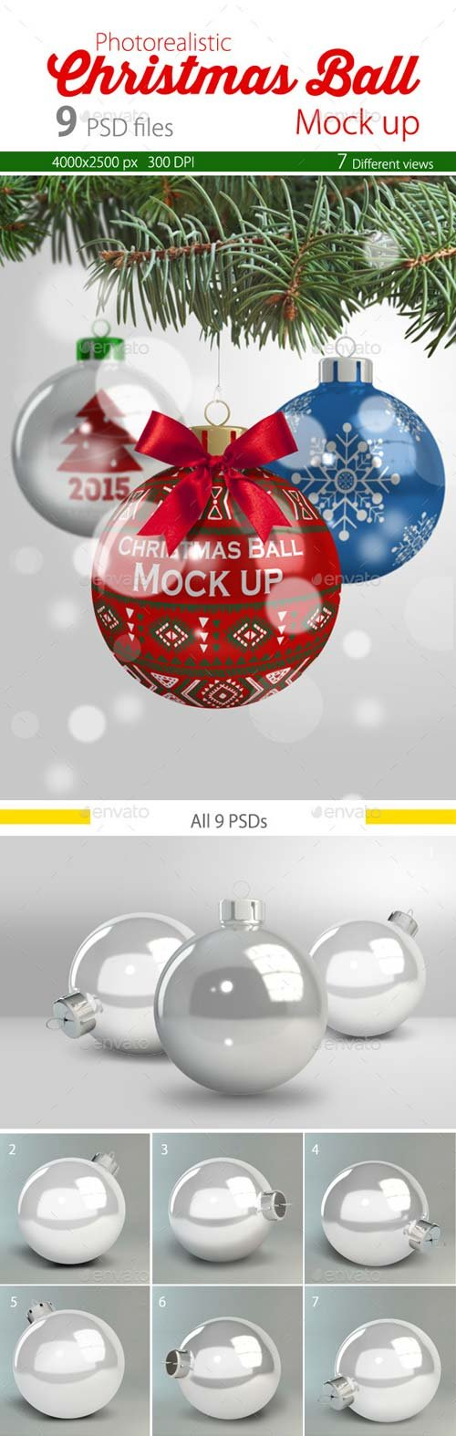 GraphicRiver Christmas Ball Mock up 9696140
