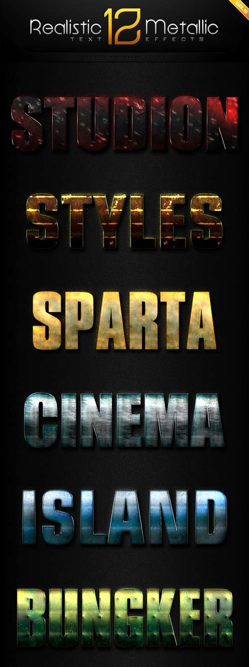GraphicRiver 12 Realistic Metallic Text Effect Styles GO.5
