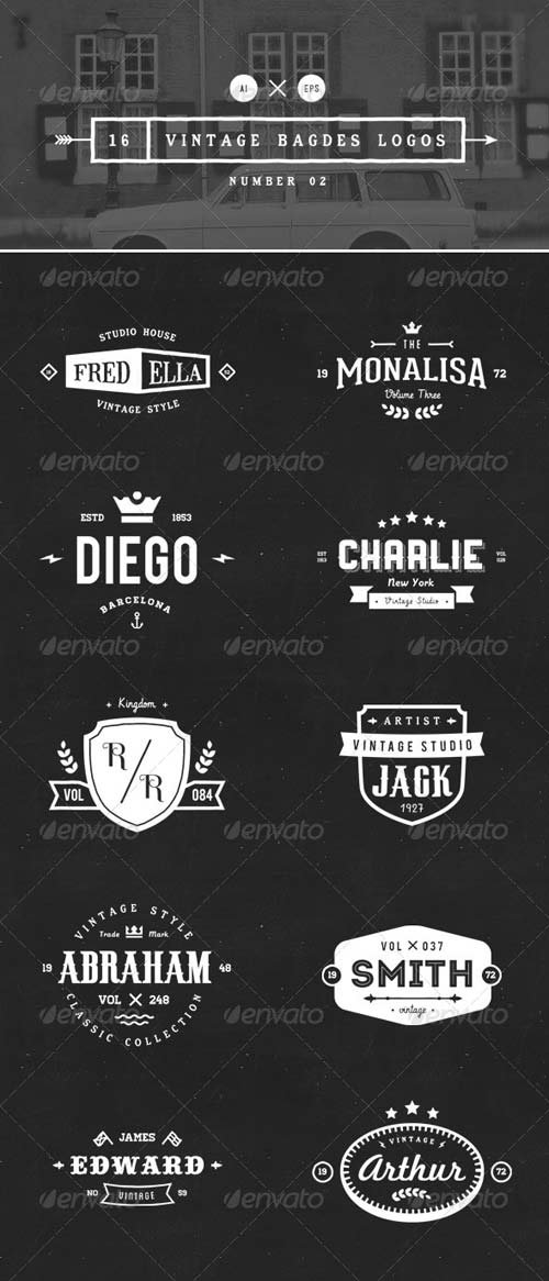 GraphicRiver 16 Vintage Badges Logos Number 02