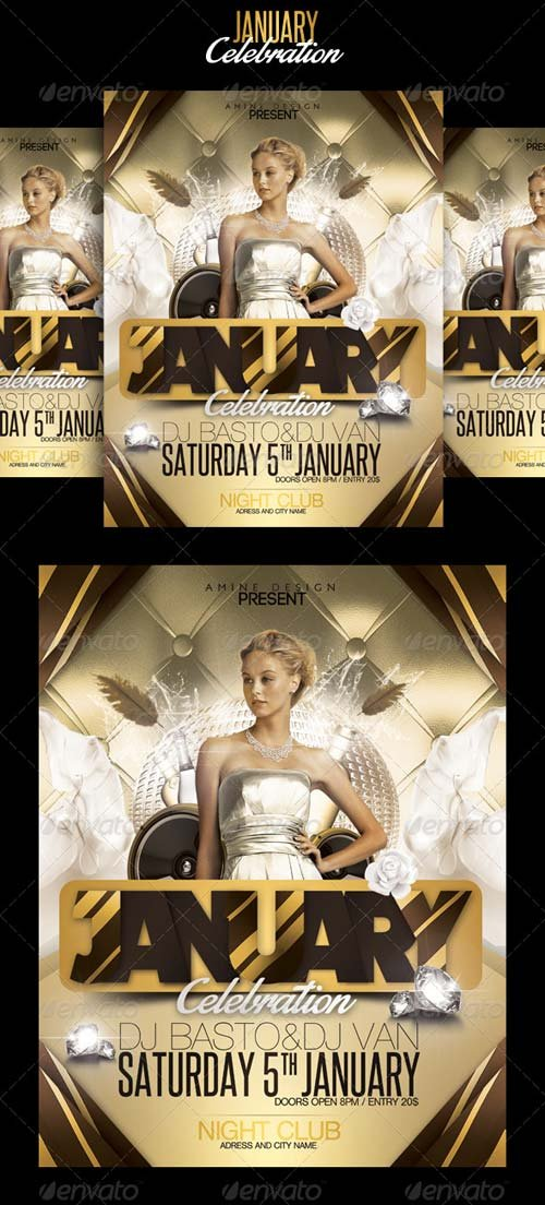 GraphicRiver January celebration flyer