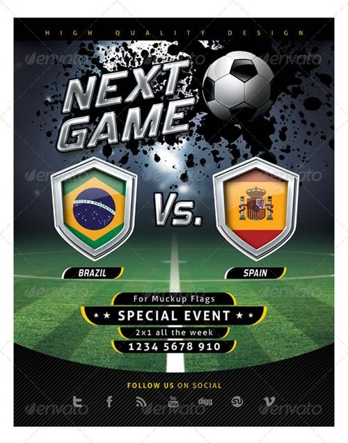 Flyer Templates  Graphicriver Flyer Soccer Template With Mockup