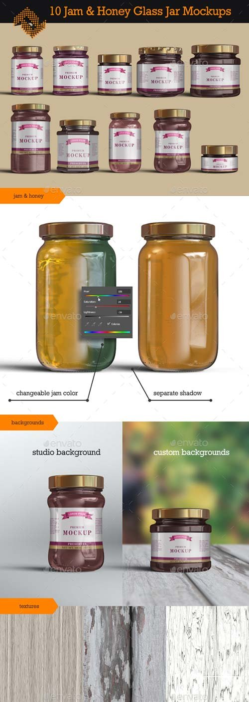 GraphicRiver 10 Jelly / Jam / Honey Jars Mockup