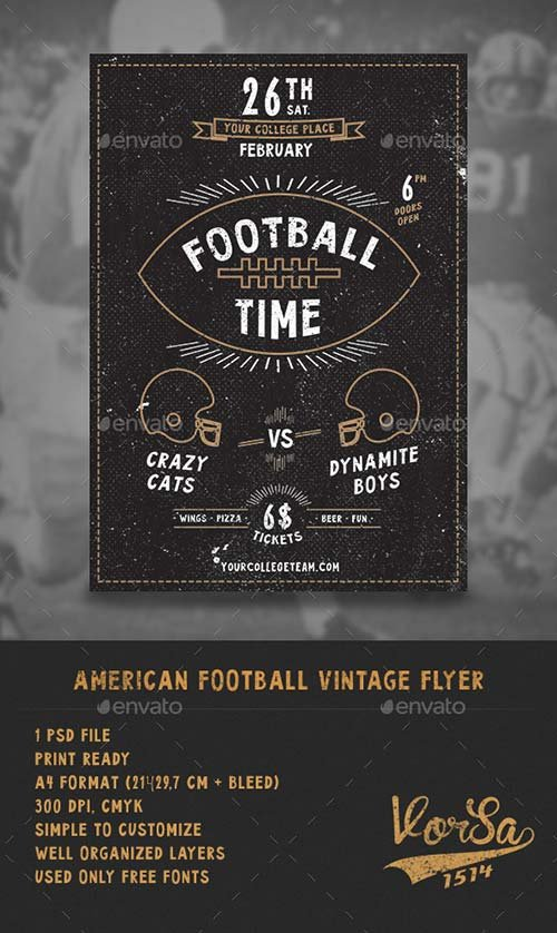 GraphicRiver American Football Vintage Flyer