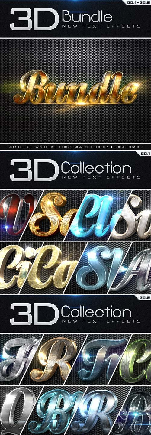 GraphicRiver New 3D Collection Text Effects Bundle