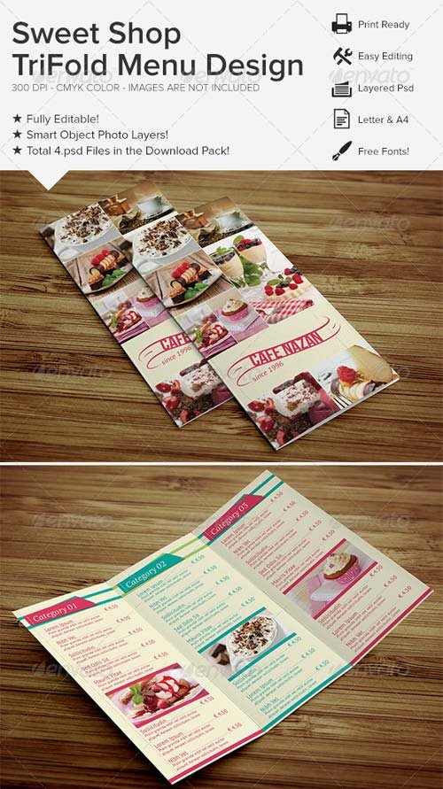 GraphicRiver Sweet Shop Trifold Menu Design