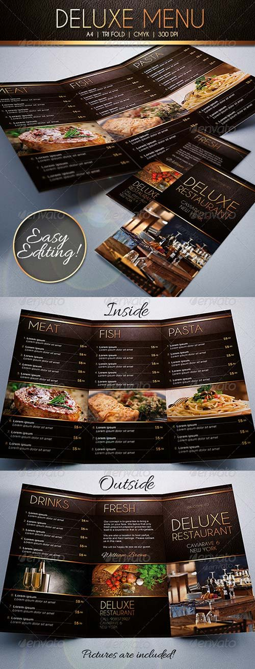 GraphicRiver Deluxe Food Menu Template Tri-Fold