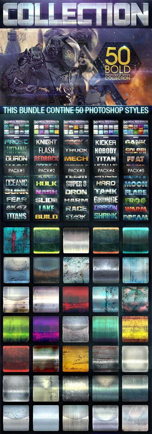 GraphicRiver 50 Metal Text Effects [Bundle V2]