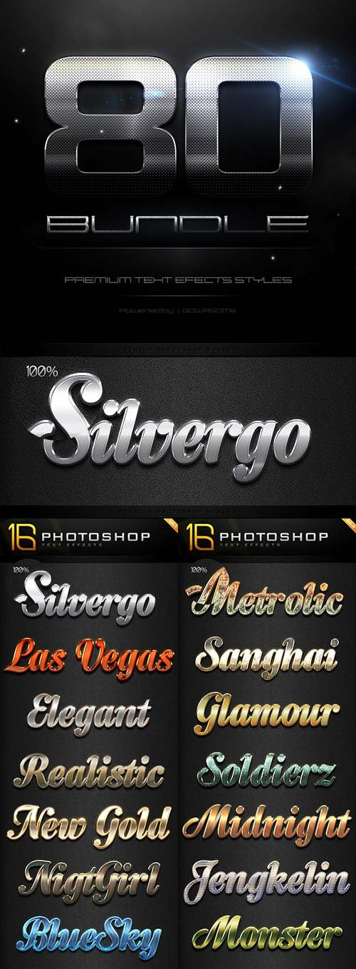 GraphicRiver 80 Photoshop Text Effects Bundle