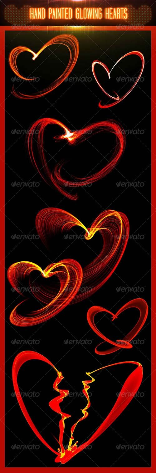 GraphicRiver Hand Painted Glowing Hearts