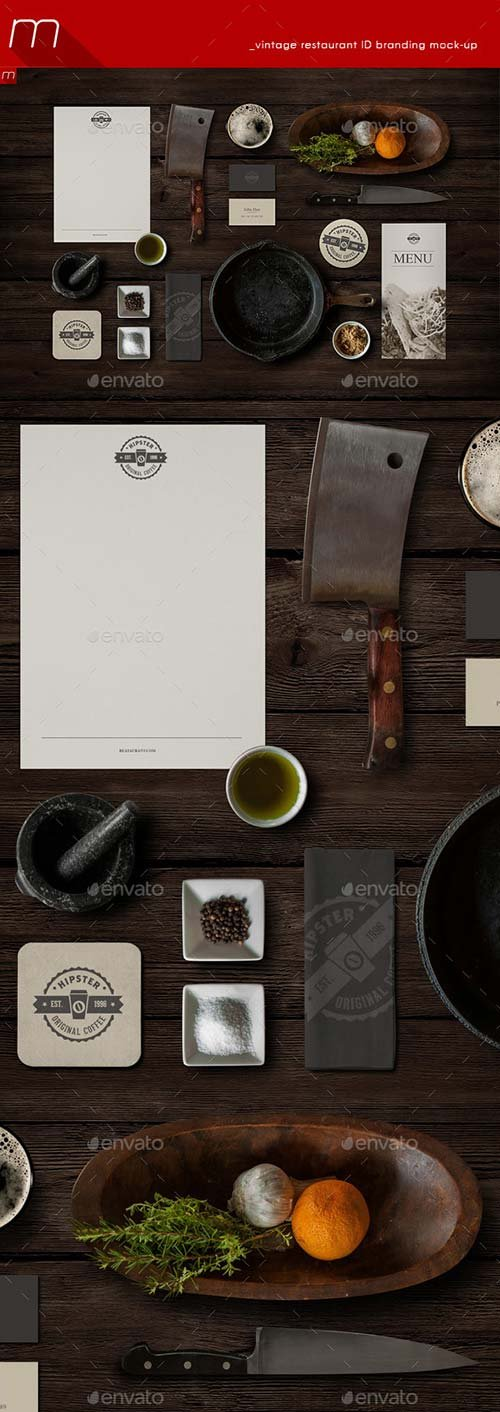 GraphicRiver Vintage Restaurant Identity Branding Mock-up