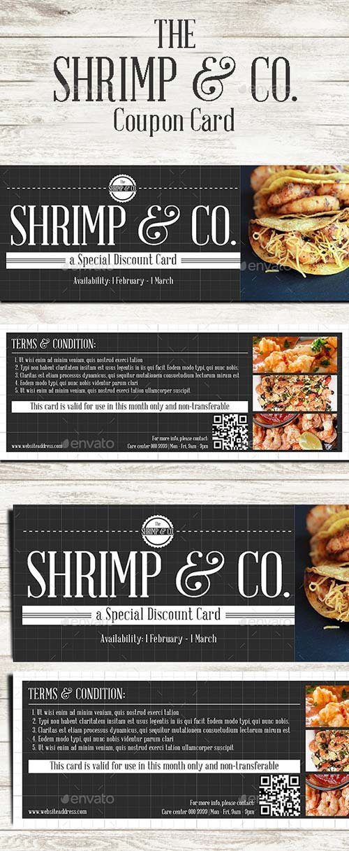 GraphicRiver Seafood Cafe Coupon Card