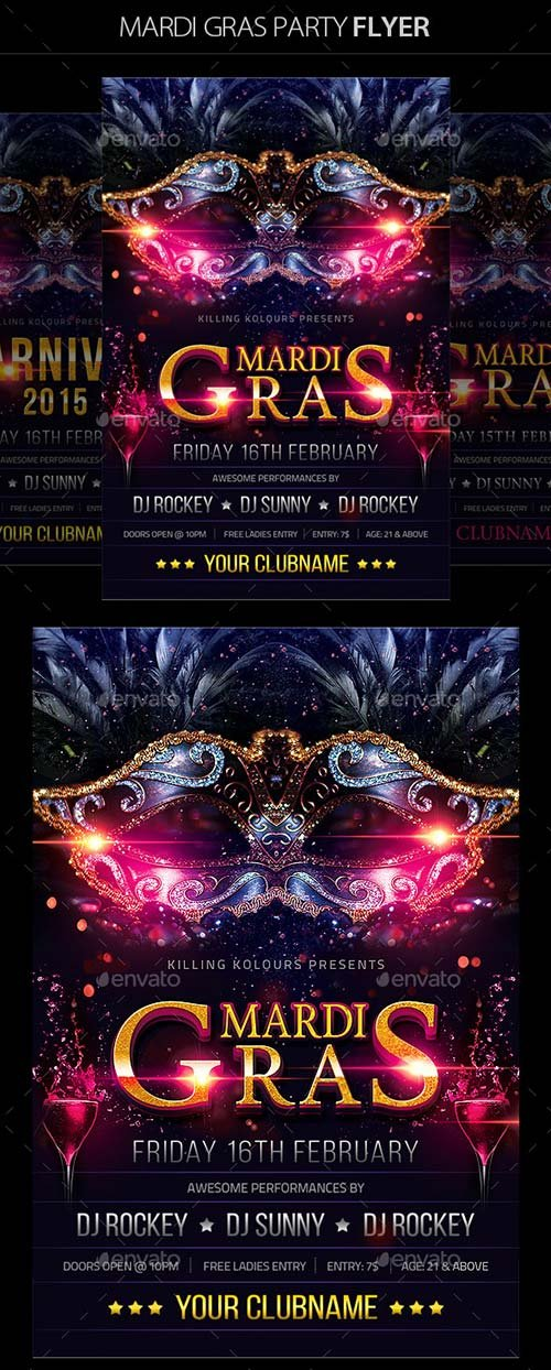 GraphicRiver Mardi Gras Flyer 10124484