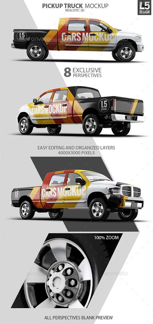 GraphicRiver Pickup Truck Mock-Up