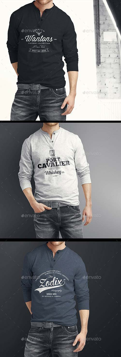GraphicRiver Man Longsleeve Shirt Mock-up