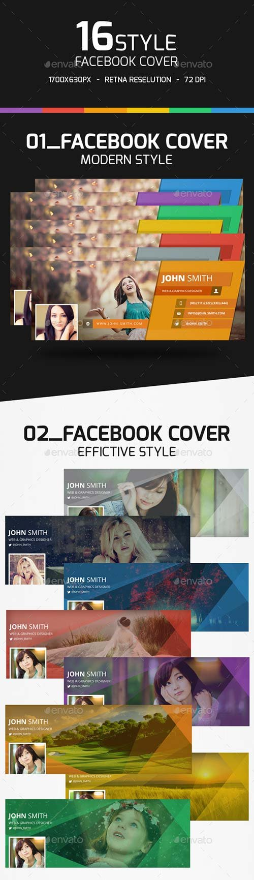 GraphicRiver 16 Style Facebook Cover Templates