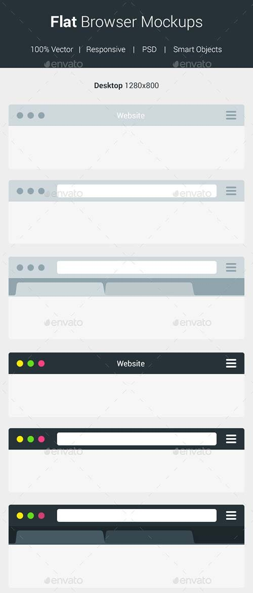 GraphicRiver Flat Browser Mockups
