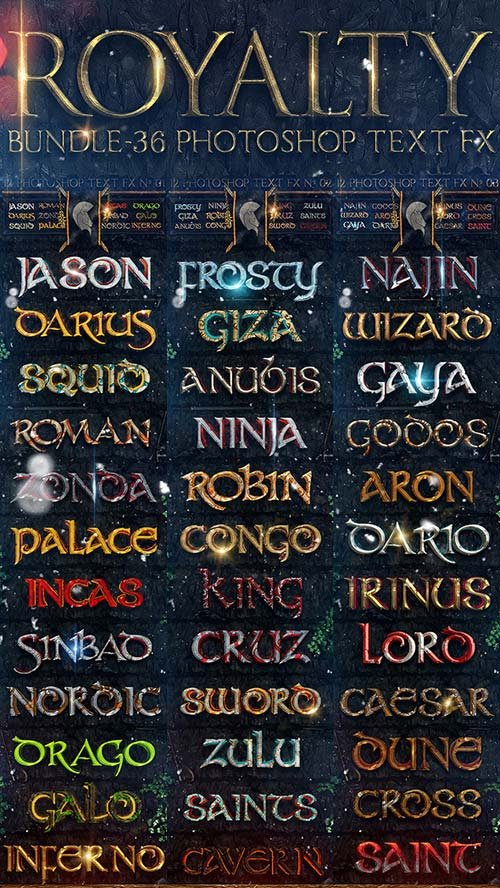 GraphicRiver Royalty Bundle - 36 Photoshop Text FX