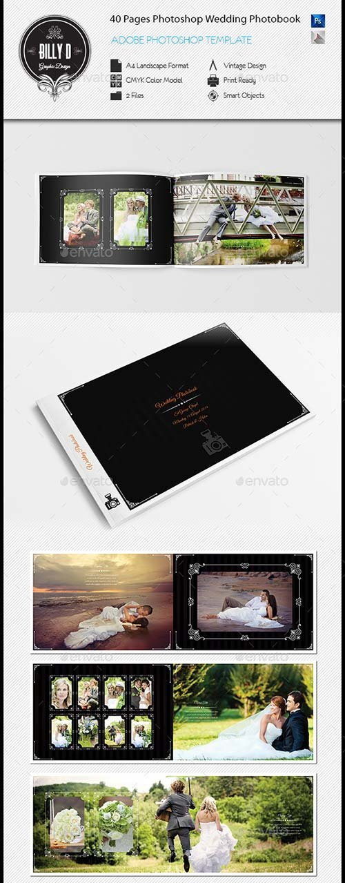 GraphicRiver 40 Pages Photoshop Wedding Photobook Template