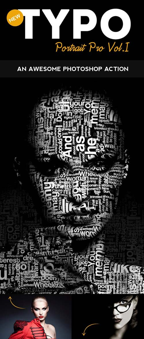 GraphicRiver Typo Portrait Pro Photoshop Action