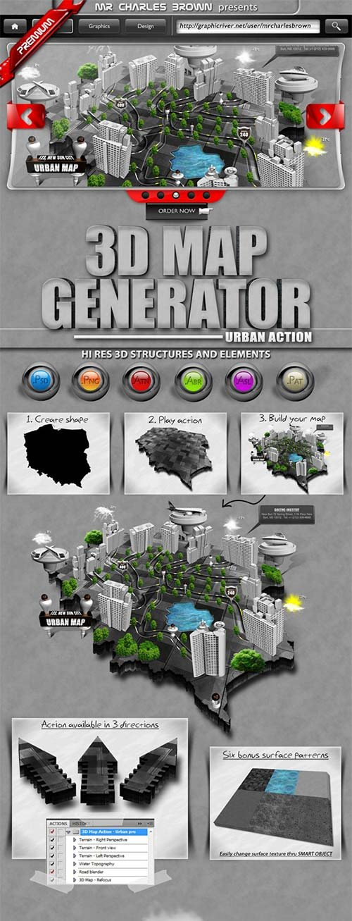 Photoshop add ons graphicriver world 3d map generator graphicflux graphicriver 3d map generator urban action gumiabroncs Gallery