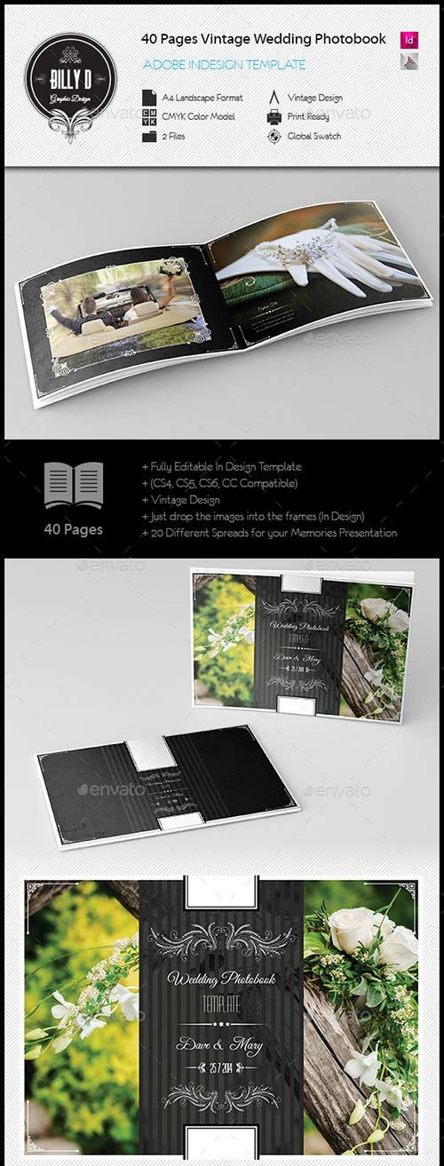 GraphicRiver 40 Pages Vintage Wedding Photobook Template