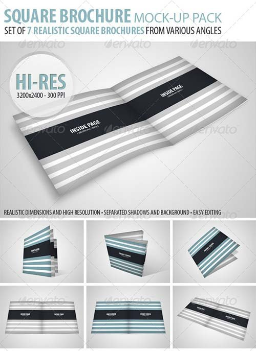 GraphicRiver Square Brochure Mock-Up Pack