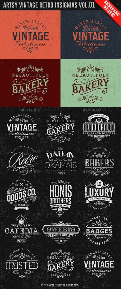 GraphicRiver Artsy Vintage Retro Insignia and Logos Vol.01