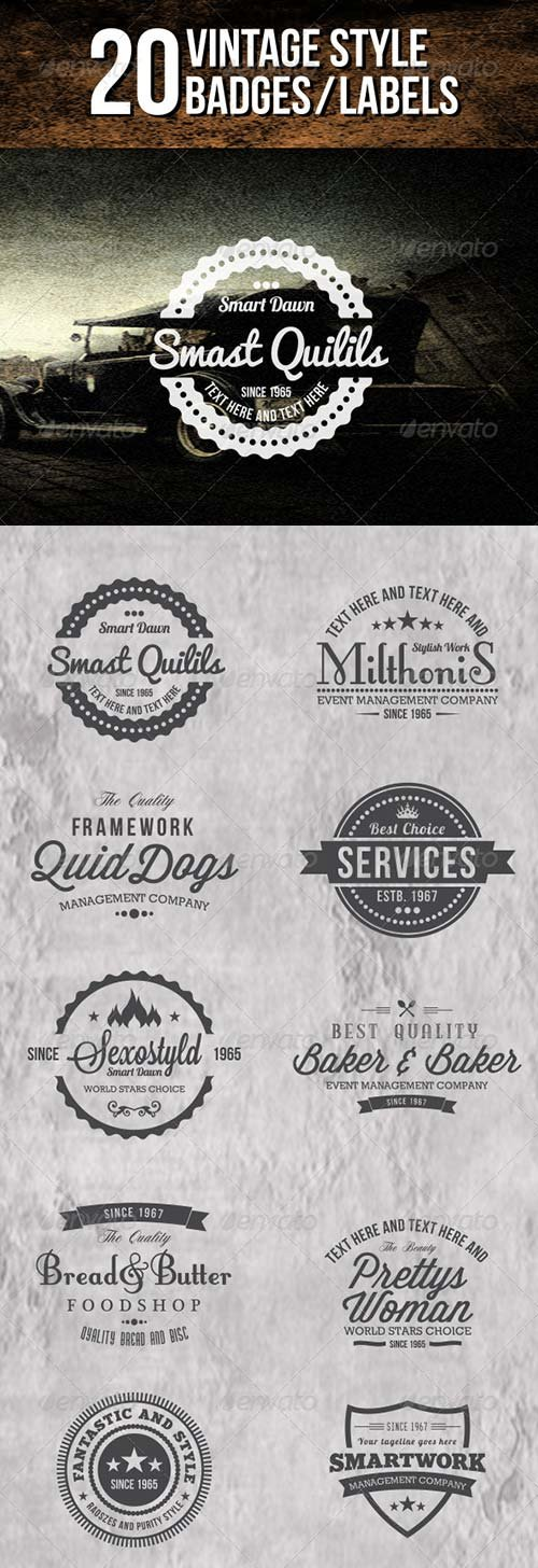 GraphicRiver 20 Vintage Badges and Labels
