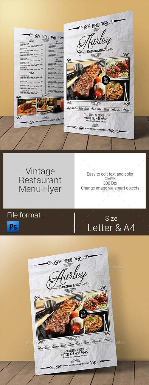 GraphicRiver Vintage Restaurant Menu Flyer
