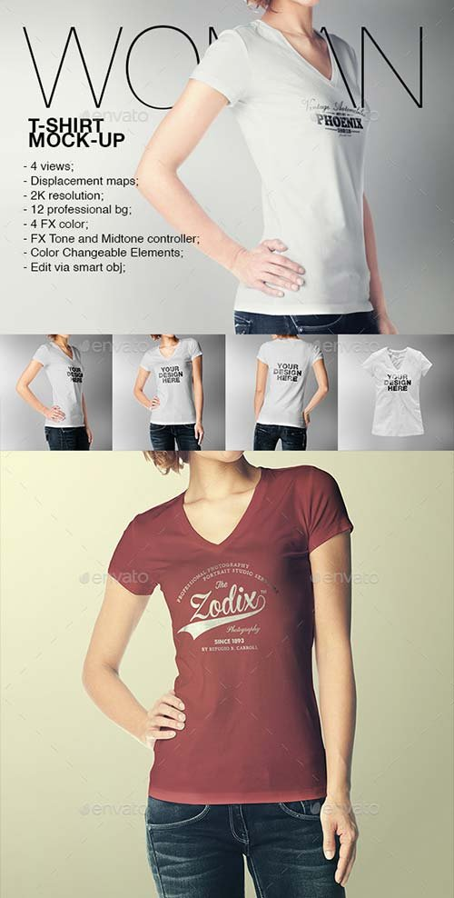 GraphicRiver Woman T-Shirt Mock-Up