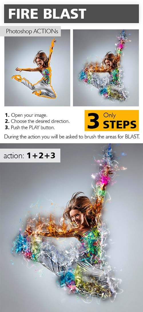 GraphicRiver Fire Blast Photoshop Action