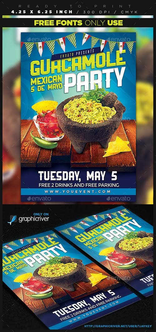 GraphicRiver Guacamole Mexican Party Flyer