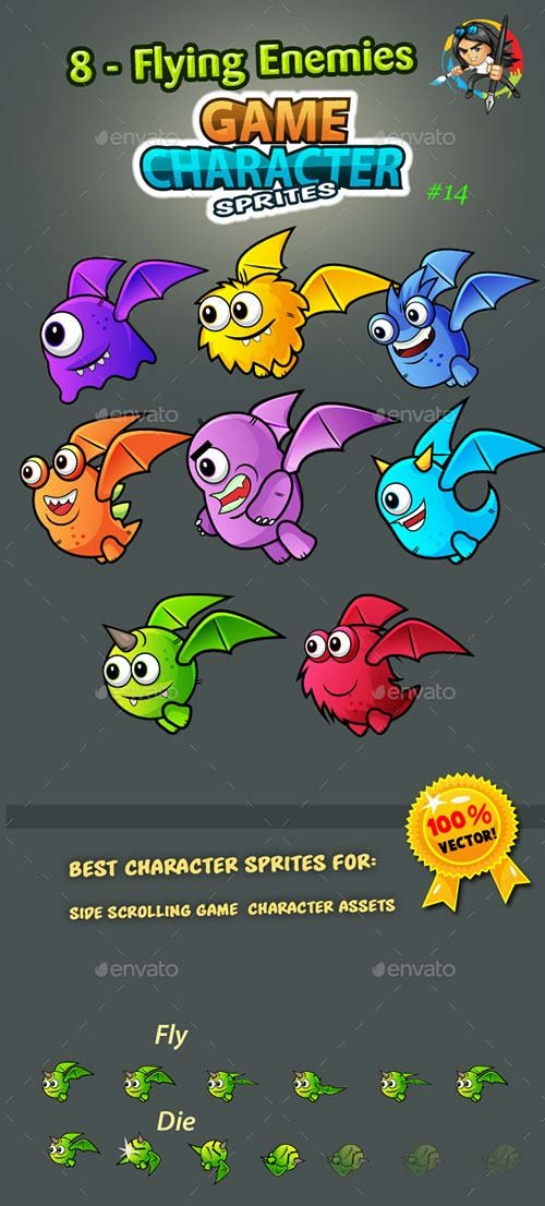 GraphicRiver 8 Flying Monster Enemies Character Sprites
