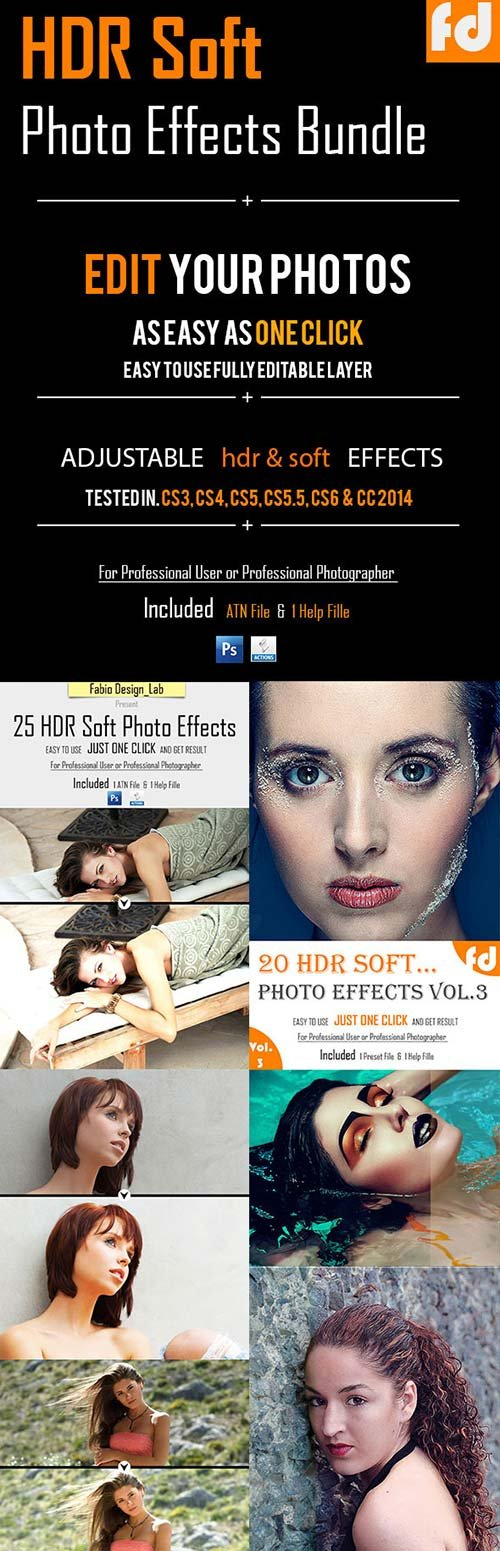 GraphicRiver 80+ HDR Soft Photo Effects Bundle
