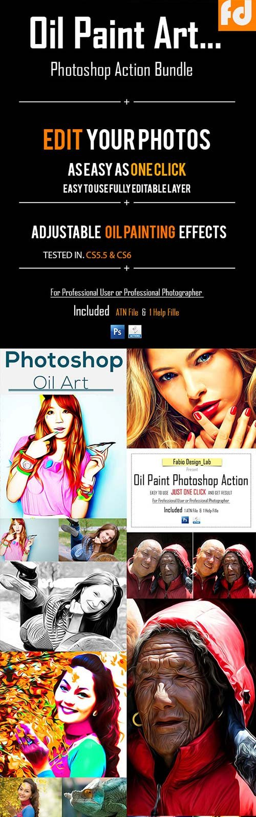 GraphicRiver Oil Paint Art Photoshop Action Bundle