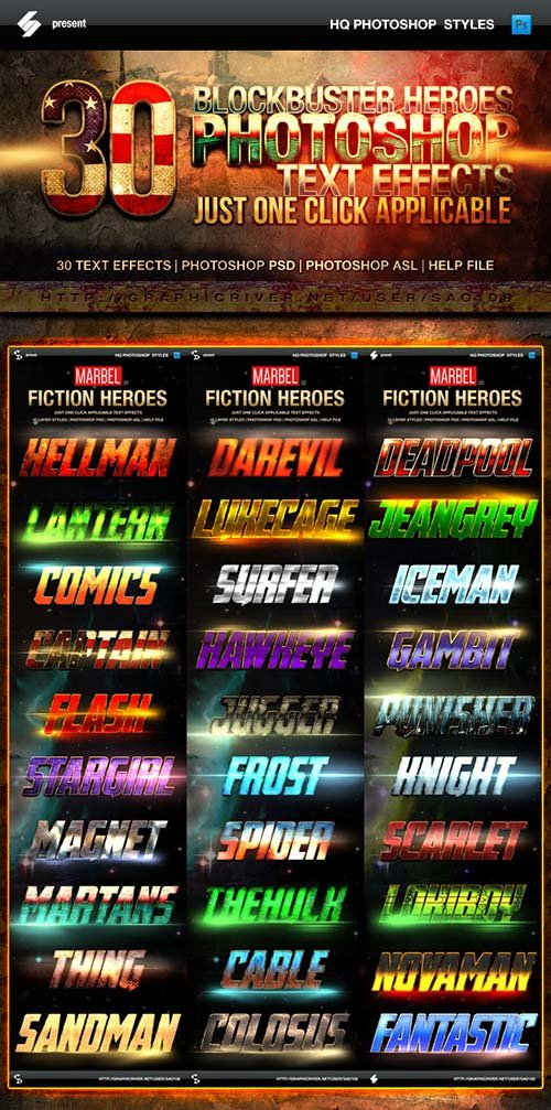 GraphicRiver Blockbuster Heroes Style Text Effects - Bundle