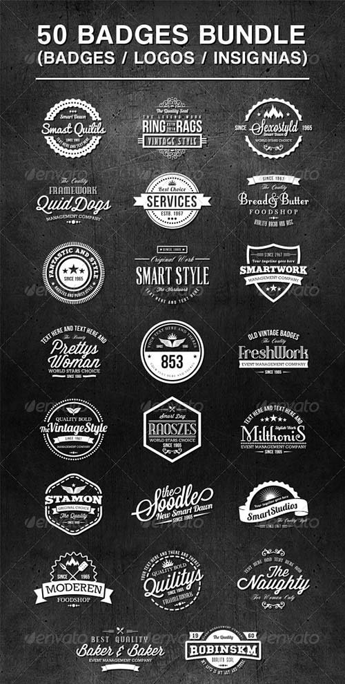 GraphicRiver 50 Vintage Style Badges Bundle
