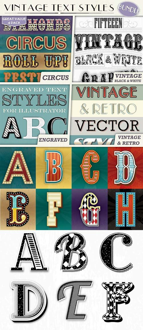 GraphicRiver Vintage Text Styles Bundle